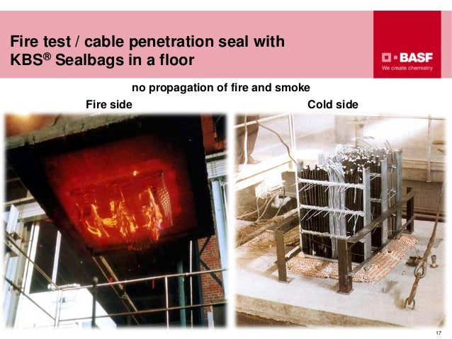 17 Fire test / cable penetration seal with KBS® Sealbags in a floor no propagation of fire and smoke Fire side Cold side