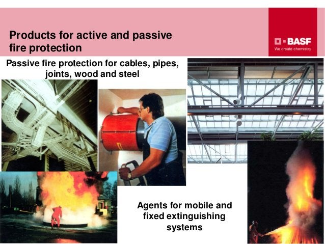 Passive fire protection for cables, pipes, joints, wood and steel Products for active and passive fire protection Agents f...