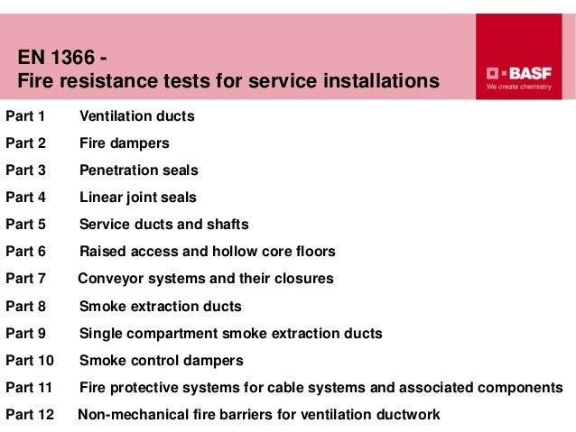 EN 1366 - Fire resistance tests for service installations Part 1 Ventilation ducts Part 2 Fire dampers Part 3 Penetration ...