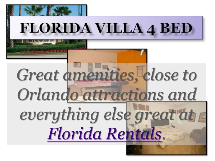 Florida Villa 4 Bed<br />Great amenities, close to Orlando attractions and everything else great at Florida Rentals.<br />