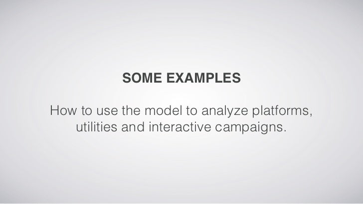 SOME EXAMPLESHow to use the model to analyze platforms,   utilities and interactive campaigns.