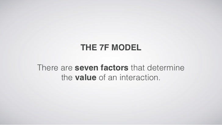 THE 7F MODELThere are seven factors that determine      the value of an interaction.