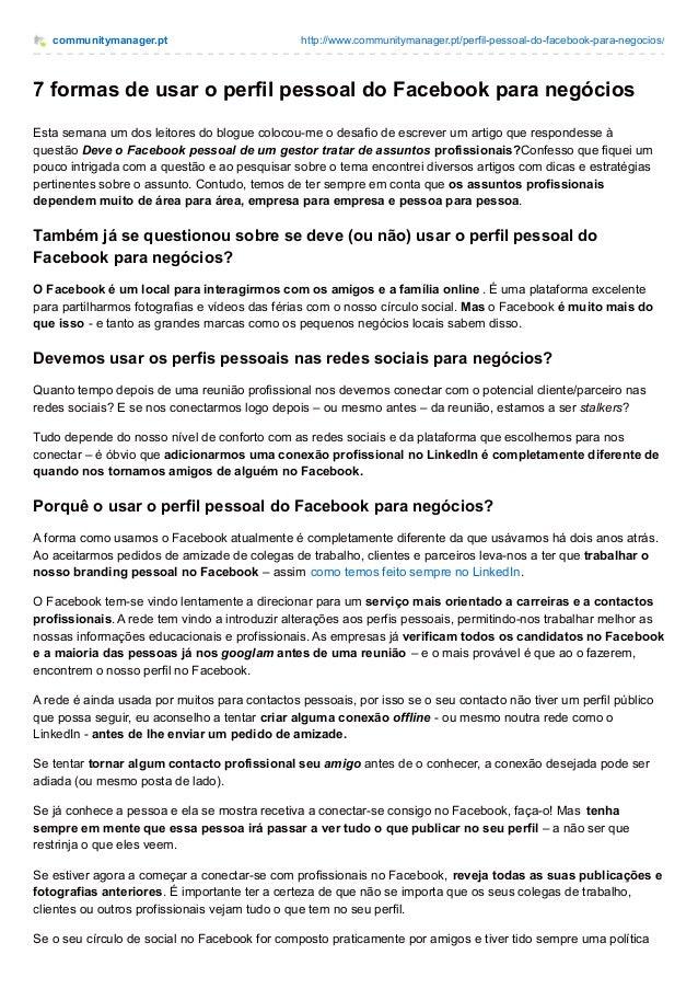 communitymanager.pt http://www.communitymanager.pt/perfil-pessoal-do-facebook-para-negocios/ 7 formas de usar o perfil pes...