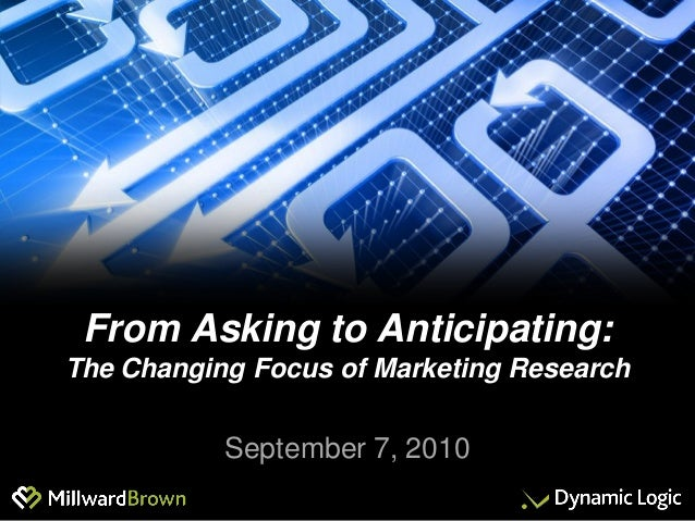 From Asking to Anticipating: The Changing Focus of Marketing Research September 7, 2010