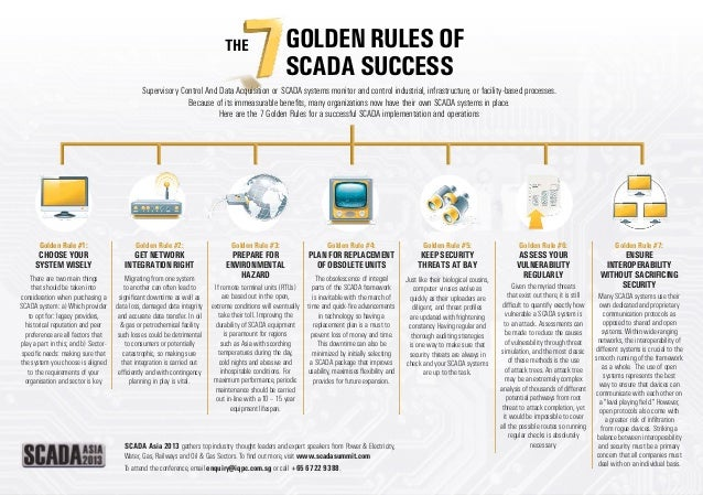 The  Golden Rules of SCADA Success  Supervisory Control And Data Acquisition or SCADA systems monitor and control industri...