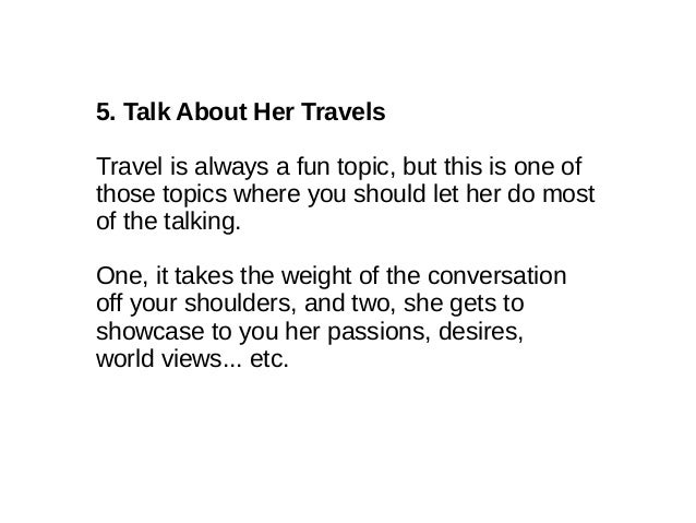 Good Things To Talk To Girls About