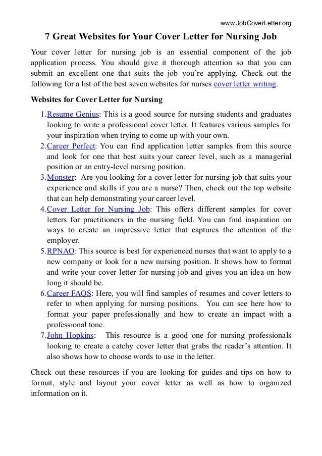 7 Great Websites For Cover Letter For Nursing Job
