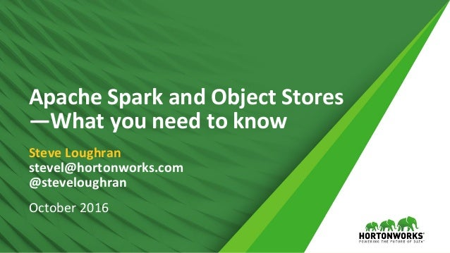 1 ©	Hortonworks	Inc.	2011	– 2016.	All	Rights	Reserved Apache	Spark	and	Object	Stores	 —What	you	need	to	know Steve	Loughra...