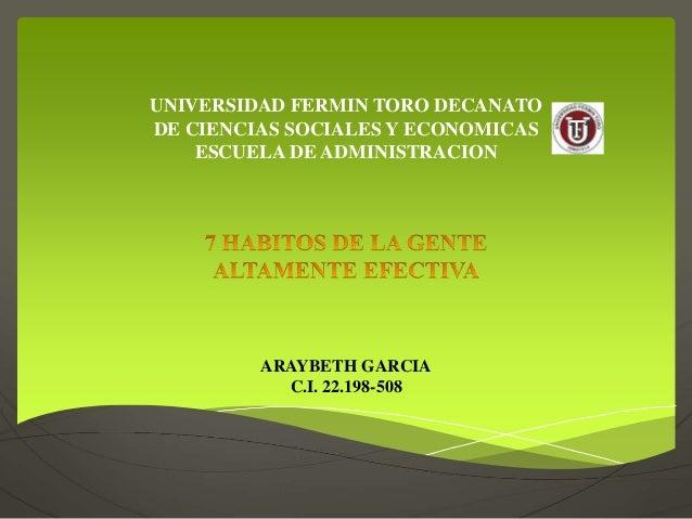 UNIVERSIDAD FERMIN TORO DECANATO DE CIENCIAS SOCIALES Y ECONOMICAS ESCUELA DE ADMINISTRACION ARAYBETH GARCIA C.I. 22.198-5...