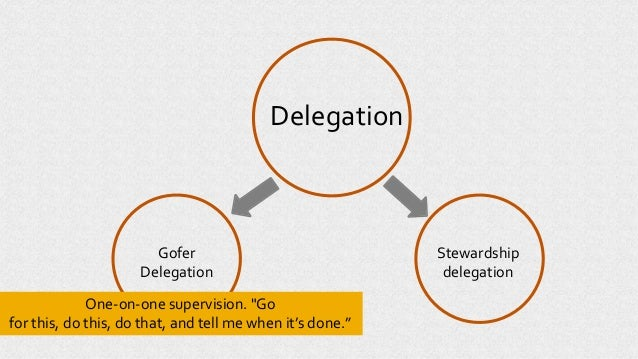 """Delegation Gofer Delegation Stewardship delegation One-on-one supervision. """"Go for this, do this, do that, and tell me whe..."""