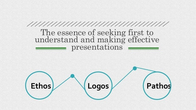 Logos The essence of seeking first to understand and making effective presentations Ethos Pathos