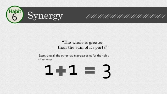 """Synergy6 Habit """"The whole is greater than the sum of its parts"""" 1 1 3 Exercising all the other habits prepares us for the ..."""