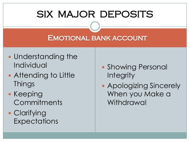 emotional bank accounts essay With tips on how to teach concepts to kindergarteners or advice to help get good grades in middle or high school, the classroom provides the best education content.