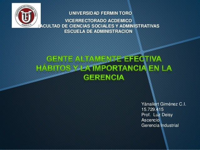 UNIVERSIDAD FERMIN TORO VICERRECTORADO ACDEMICO FACULTAD DE CIENCIAS SOCIALES Y ADMINISTRATIVAS ESCUELA DE ADMINISTRACION ...