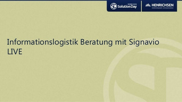 Informationslogistik Beratung mit SignavioLIVE
