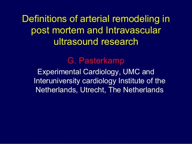 Definitions of arterial remodeling in post mortem and Intravascular ultrasound research G. Pasterkamp Experimental Cardiol...