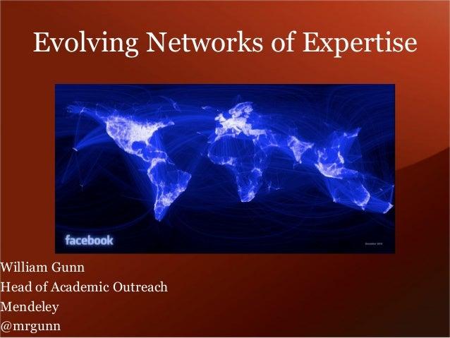 Evolving Networks of Expertise  William Gunn  Head of Academic Outreach  Mendeley  @mrgunn
