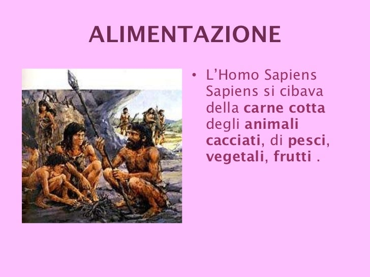 <ul><li>L'Homo Sapiens Sapiens si cibava della  carne cotta  degli  animali cacciati , di  pesci ,  vegetali ,  frutti  . ...