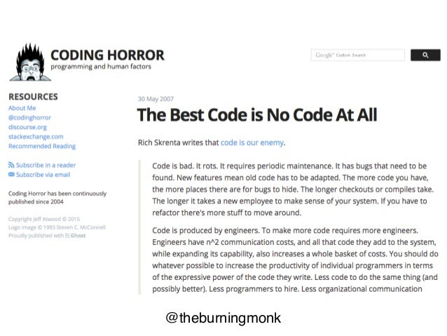@theburningmonk more code more chance for bugs