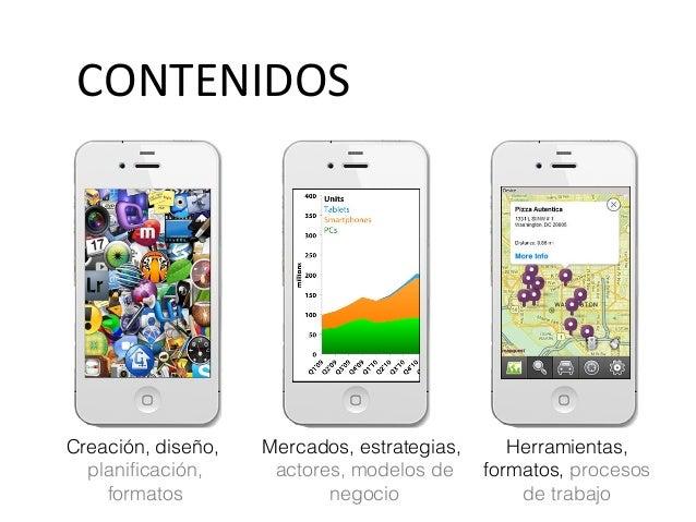 CONTENIDOS Creación, diseño, planificación, formatos Mercados, estrategias, actores, modelos de negocio Herramientas, form...