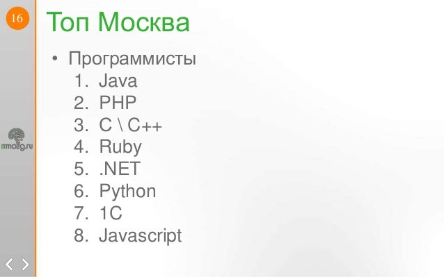 16Топ Москва• Программисты1. Java2. PHP3. С  C++4. Ruby5. .NET6. Python7. 1C8. Javascript