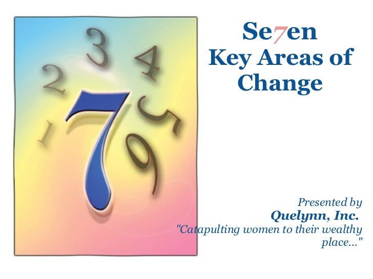 "Se 7 en Key Areas of Change Presented by Quelynn, Inc.   ""Catapulting women to their wealthy place..."""