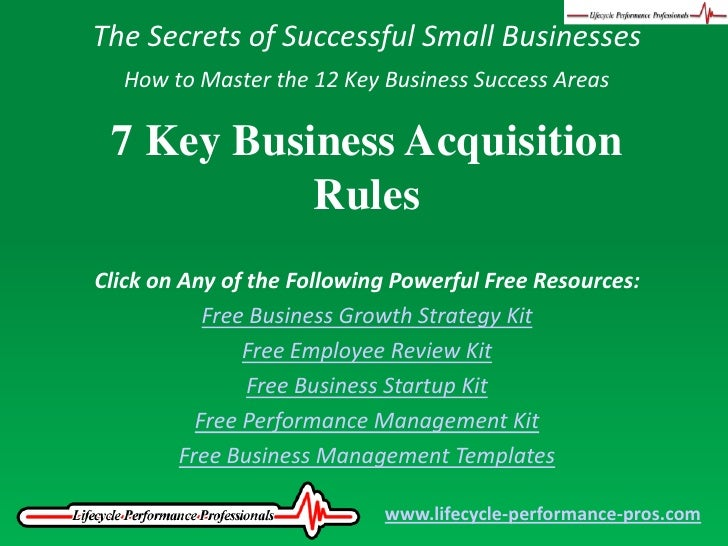 Video 7 Key Business Acquisition Rules