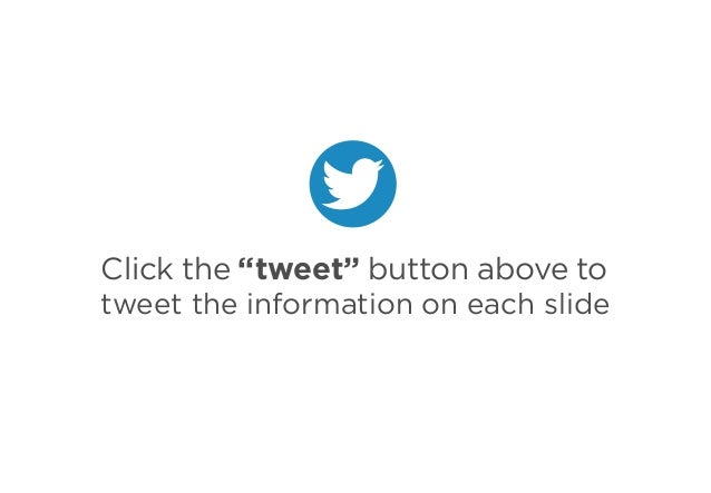 "Click the ""tweet"" button above to tweet the information on each slide"