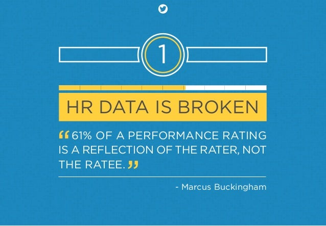 1 HR DATA IS BROKEN 61% OF A PERFORMANCE RATING IS A REFLECTION OF THE RATER, NOT THE RATEE. - Marcus Buckingham