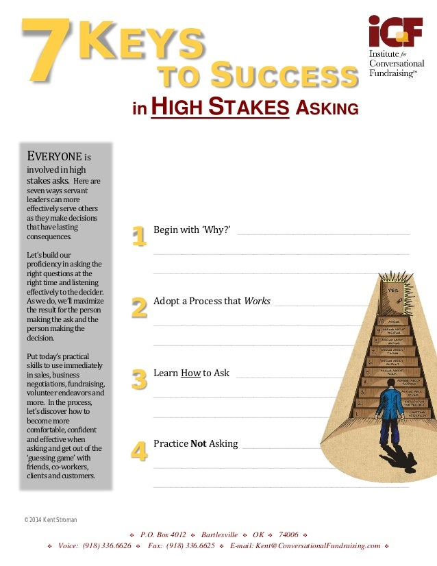 7  KEYS TO  in HIGH  EVERYONE is  SUCCESS STAKES ASKING  involved in high stakes asks. Here are seven ways servant leaders...