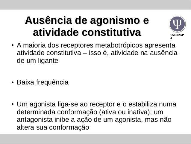 UNIFESSP A Ausência de agonismo eAusência de agonismo e atividade constitutivaatividade constitutiva ● A maioria dos recep...