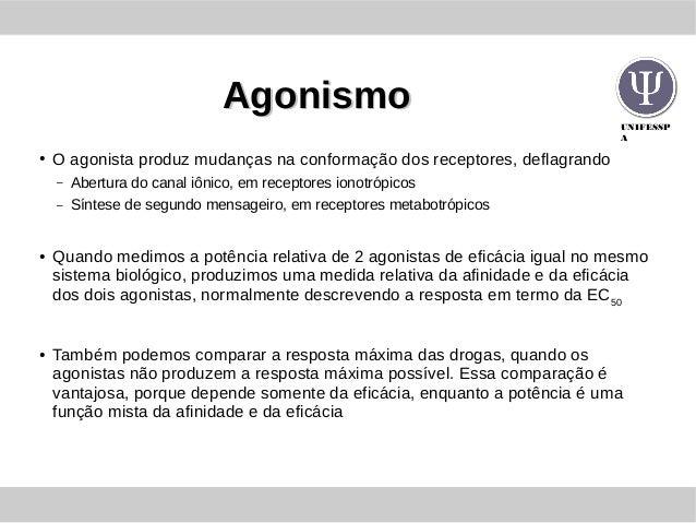 UNIFESSP A AgonismoAgonismo ● O agonista produz mudanças na conformação dos receptores, deflagrando – Abertura do canal iô...