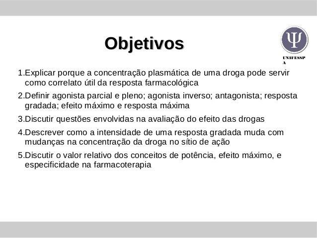 UNIFESSP A ObjetivosObjetivos 1.Explicar porque a concentração plasmática de uma droga pode servir como correlato útil da ...