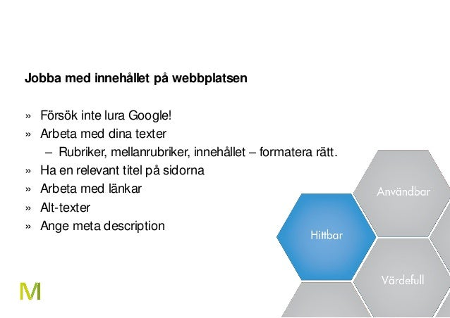 23 Jobba med innehållet på webbplatsen » Försök inte lura Google! » Arbeta med dina texter – Rubriker, mellanrubriker, inn...