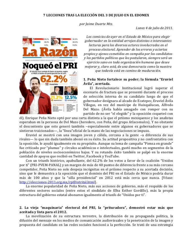 7 LECCIONES TRAS LA ELECCIÓN DEL 3 DE JULIO EN EL EDOMEX                                        ...