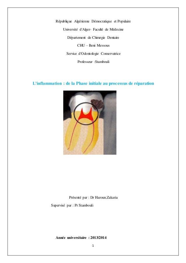 1 République Algérienne Démocratique et Populaire Université d'Alger- Faculté de Médecine Département de Chirurgie Dentair...