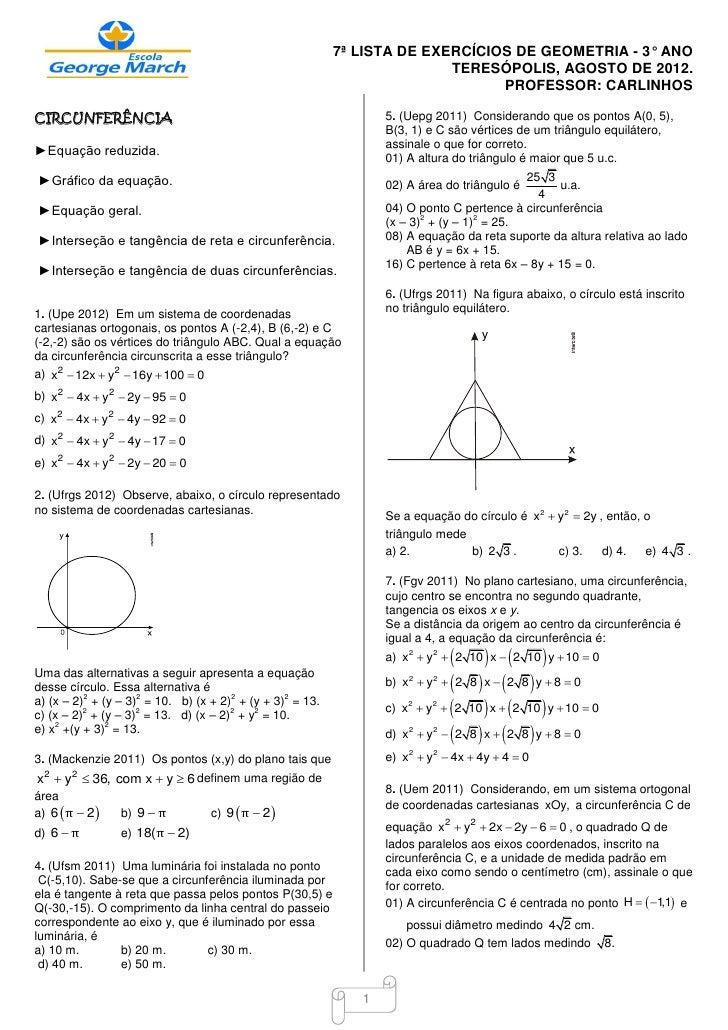 7ª LISTA DE EXERCÍCIOS DE GEOMETRIA - 3° ANO                                                                        TERESÓ...