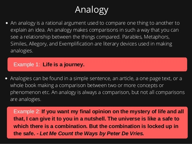 literary analogies Despite the term's broad usage, this guide will focus solely on the literary definition of analogy summarized above analogy is closely related to metaphor and simile sources vary in how.