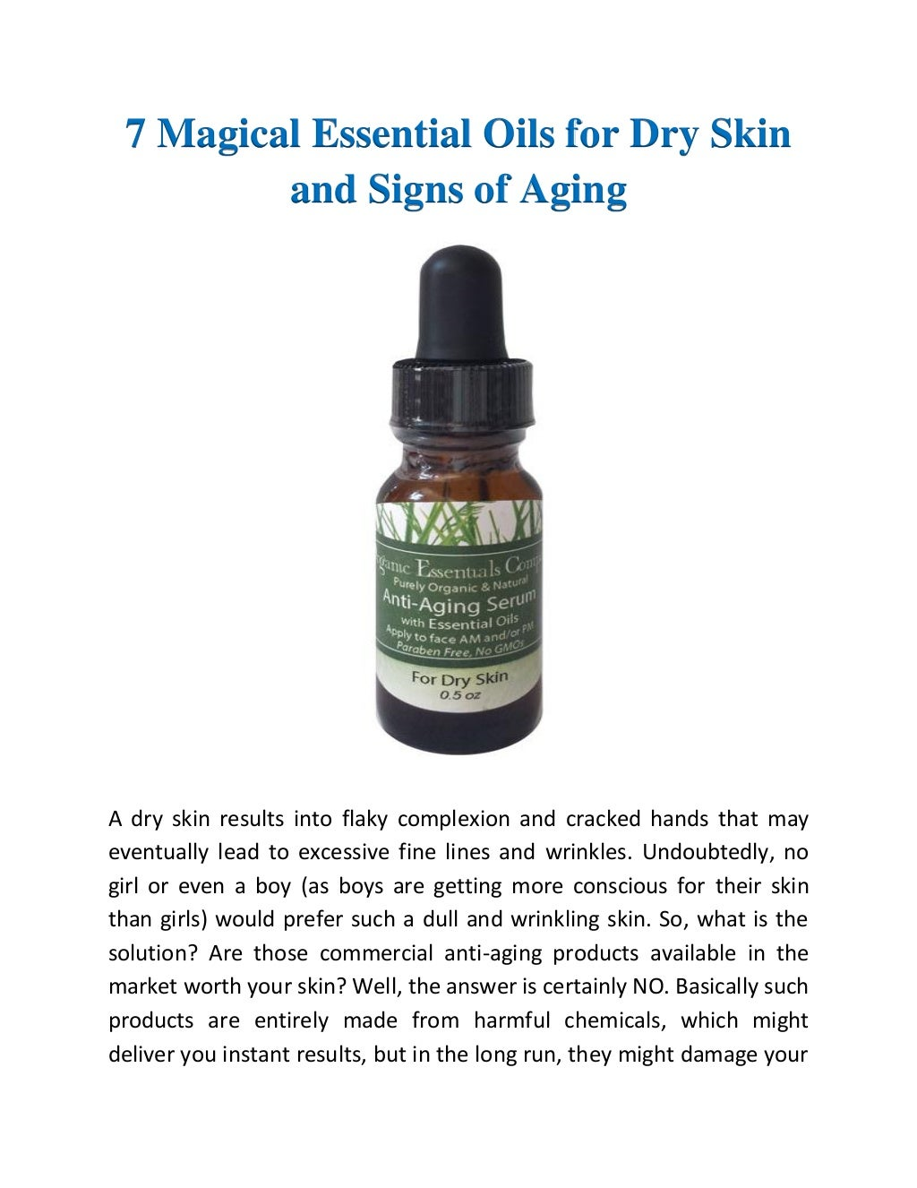 7 magical essential oils for dry skin and signs of aging