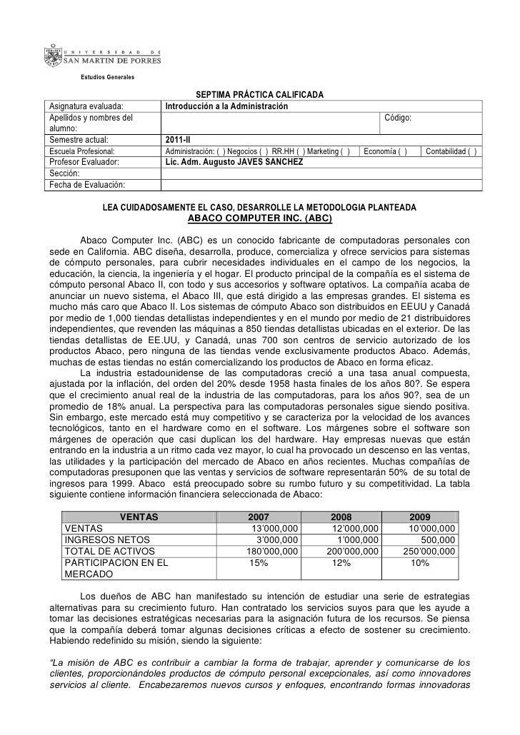 Estudios Generales                                      SEPTIMA PRÁCTICA CALIFICADAAsignatura evaluada:          Introducc...