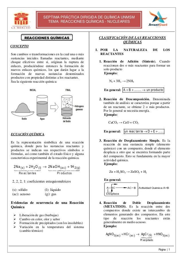Página | 1 SEPTIMA PRÁCTICA DIRIGIDA DE QUÍMICA UNMSM TEMA: REACCIONES QUÍMICAS - NUCLEARES REACCIONES QUÍMICAS CONCEPTO S...