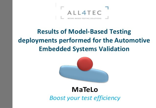 Results of Model-Based Testing deployments performed for the Automotive Embedded Systems Validation MaTeLo Boost your test...