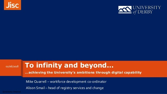 Sensitivity: Internal To infinity and beyond… …achieving the University's ambitions through digital capability Mike Quarre...