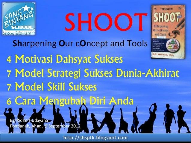 SHOOT Sharpening Our cOncept and Tools  4 Motivasi Dahsyat Sukses 7 Model Strategi Sukses Dunia-Akhirat 7 Model Skill Suks...