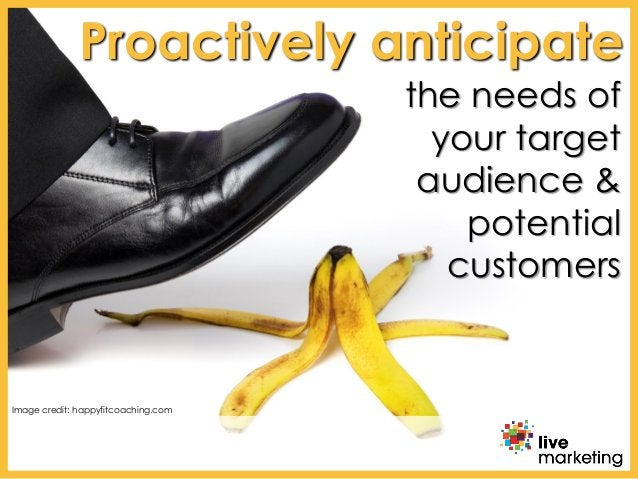 the needs of your target audience & potential customers Proactively anticipate Image credit: happyfitcoaching.com