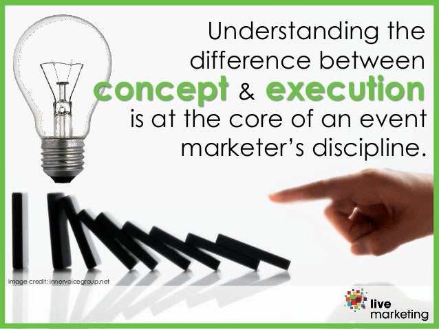 Understanding the difference between Image credit: innervoicegroup.net concept & execution is at the core of an event mark...