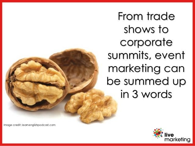 From trade shows to corporate summits, event marketing can be summed up in 3 words Image credit: learnenglishpodcast.com