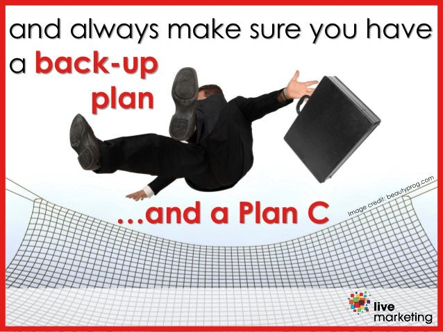and always make sure you have a back-up plan …and a Plan C
