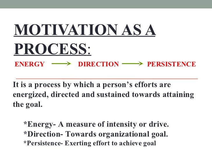MOTIVATION AS A PROCESS : <ul><li>It is a process by which a person's efforts are energized, directed and sustained toward...
