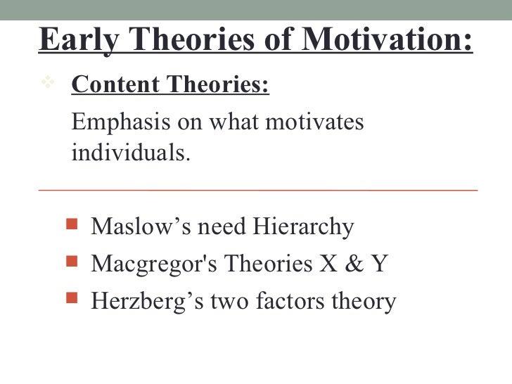 Early Theories of Motivation: <ul><li>Content Theories: </li></ul><ul><li>Emphasis on what motivates individuals. </li></u...